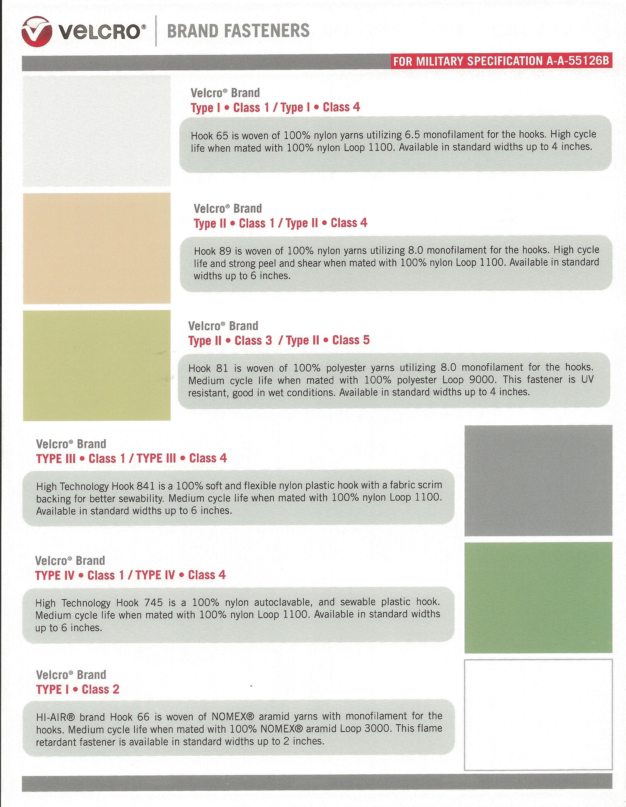 Velcro Military Product Specs
